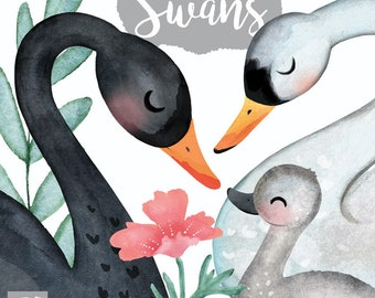 Swans, hand painted, watercolor, digital clip art for craft and planner supplies
