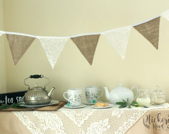 Lace and Burlap Pennant Banner, bunting, flags, party decor, wedding decor, baptism decor, nursery, rustic decor, elegant decor, tea party