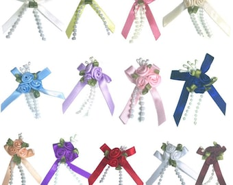 Triple Cluster Rose Ribbon Flowers - 20pcs - White Yellow Pink Blue Peach Navy Red Burgundy Rose Purple Lilac