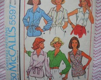 vintage 1970s McCalls sewing pattern 5597   misses set of blouses size 10