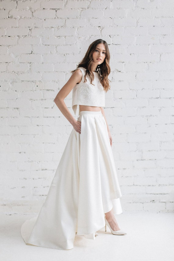 Simple Wedding Dress Bridal Separates High Low Wedding