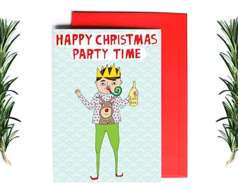 Christmas Card - Happy Christmas Party Time  | Greeting Card | Holiday Card | Funny Christmas Card