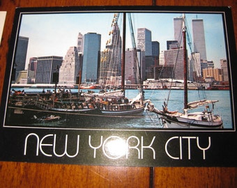 Vintage NYC Twin Towers World Trade Center Postcard Water View WTC PC New York City Reduced