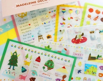 Kawaii Various Illustrated Deco Sticker Pack (Clear, 7 sheets)