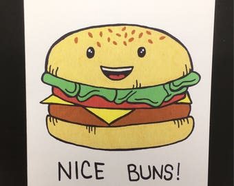 Funny Note Card - Nice Buns Card - Blank