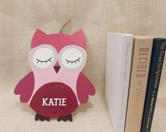 Eyelash Baby Owl Baby Kids Room Canvas Original Acrylic Painting Wood personalized
