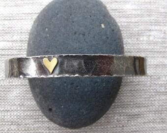 Sterling Cuff Bracelet with 18k Gold Heart