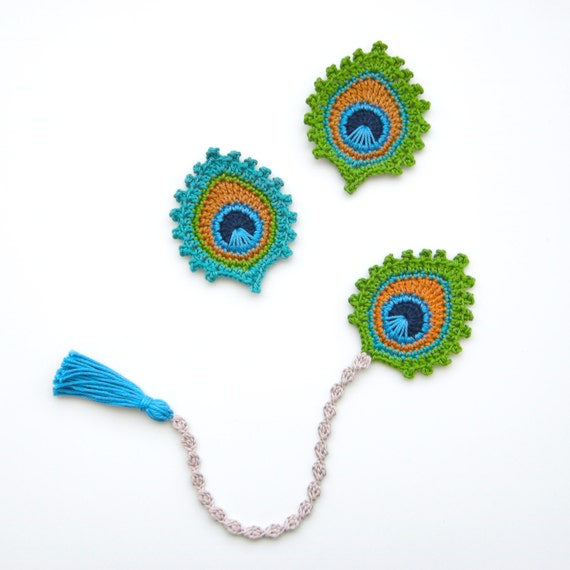 Crochet Pattern Peacock Feather Bookmark And Motif Burma Photo