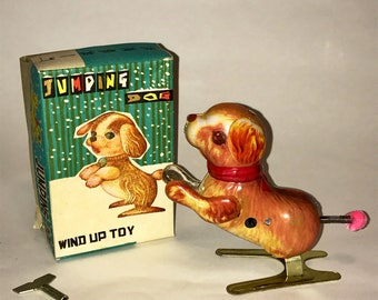 Vintage Tin Litho Wind Up Toy Dog Jumping Dog Korea 1980s Working Original Box