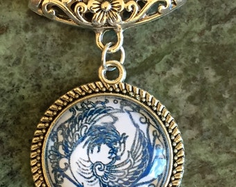 Wings blue & White Pendant necklace
