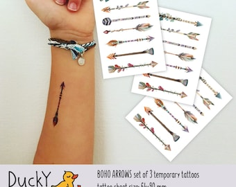 Set of 3 Boho arrows tattoo sheets. Bohemian tattoos set with 21 tribal arrows. Bohemian party favors and boho goodie bags fillers. TT144