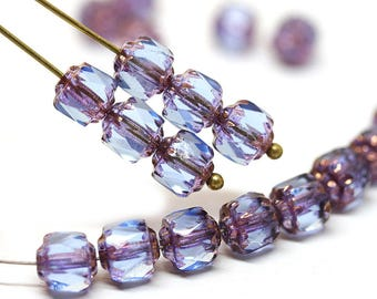 Blue Purple cathedral beads Czech glass fire polished blue round beads with golden ends faceted 20Pc - 0093