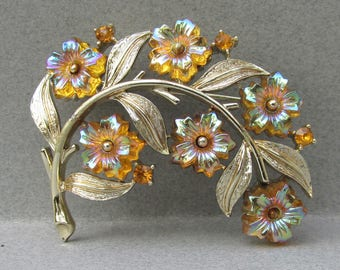 Vintage Signed CORO Flower Spray Pin with Molded Saphiret Glass Flower Rhinestones