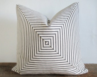 Pillow Cover Mitered Black & White Ticking Stripes Urban Chic