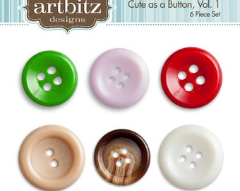 Cute as a Button Vol. 1, Set of 6, Button Clip Art Kit, 300 dpi .jpg and .png
