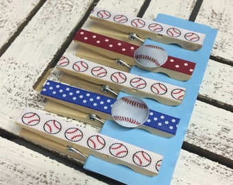Set of 5 baseball fridge magnets, refrigerator magnets, baseball kitchen clips, baseball gift, sports decorated clothespins
