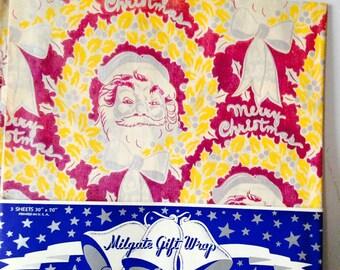 Vintage Milgate  1940's 'Santa' Merry Christmas Wrapping Paper /Vintage Christmas Gift Wrap / 40s Xmas Gift Wrap