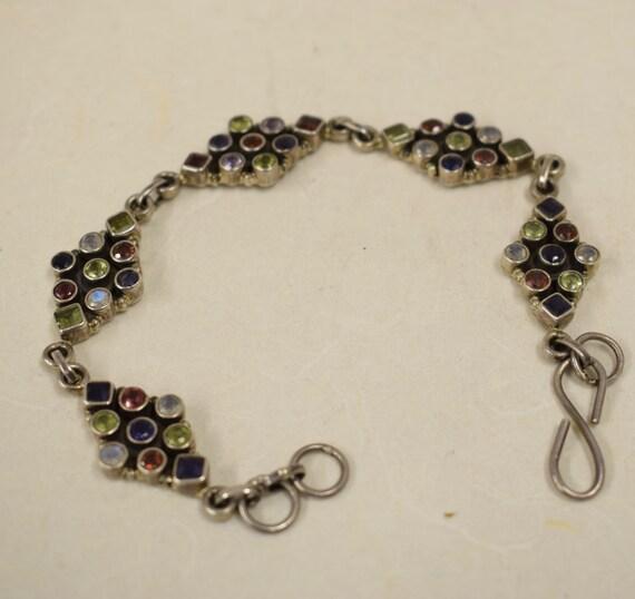 Bracelet Sterling Silver Moonstone Amethyst Garnets  Peridot Handmade Handcrafted Purple Red Green Stones Gift for Her Birthday Jewelry