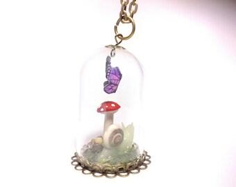Fairy tale garden terrarium necklace, miniature fairy garden, toadstool necklace, Purple butterfly necklace, snail necklace, miniature art