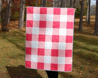 CLEARANCE Punch Pink Gingham Crib Quilt, Ready to Ship