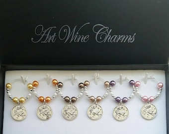 6 Leo Wine Charms, Leo the Lion, Astrology, Astronomer, Gift, Thank You, Constellations, Themed Party, Party Favors, Zodiac Signs, Generous