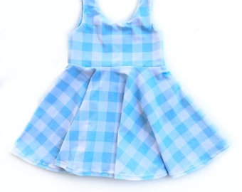 Blue gingham dress baby dress kids dress twirl dress summer dress picnic dress blue checkered dress ginham toddler dress