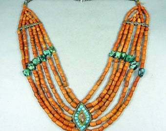 Himachal Pradesh or other Himalayan region necklace, with turquoise, coral and silver