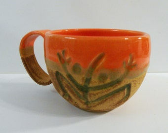 Coffee cup. Orange ceramic coffee mug - tea cup - espresso mug: orange ceramic mug wheel thrown with Coquí and Sun (medium)