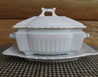 Johnson Bros. 3-piece Ironstone Covered Dish and Under plate.