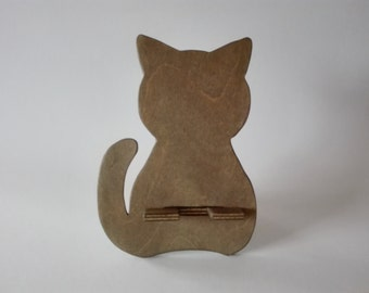Wooden phone stand Cat, Phone holder for smartphone, Phone docking station, iPhone stand, Charging Station