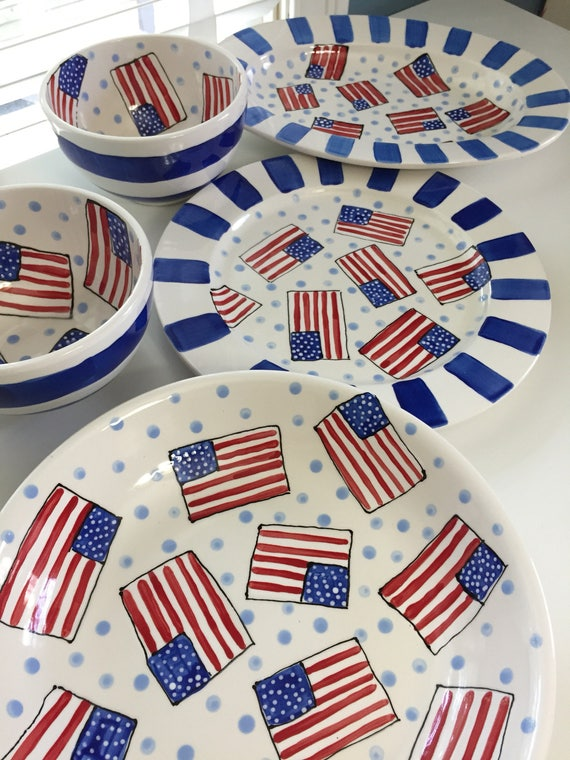 American flag bowl, USA partyware, Independence Day serving bowl, 4th of July bowl, Fourth of July bowl, hand painted bowl