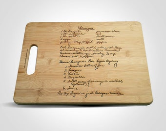 Custom Engraved Family Recipe Cutting Board - Handwritten Recipe Cutting Board - Grandmother's Recipe Cutting Board - Mother's Day - Bamboo