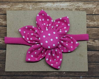 Fabric Flower nylon headband one size fits all