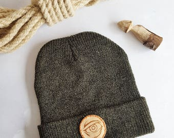 Third Eye Beanie, leather patch woolly hat alternative moss green hat odins eye custom bobble hat personalised viking hat tattoo flash