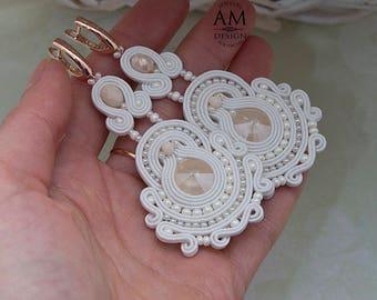 Earrings for Wedding Bridal Chandelier Earrings Swarovski Crystal Earrings Dangle Earrings Soutache Jewelry Pearl Statement Earrings