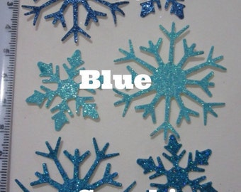 Set of 10 Blue Glitter Snowflake Die Cuts