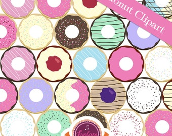 DONUT CLIPART - Mega Pack - 100 Donut Clipart Pack - Commercial Use Clipart -