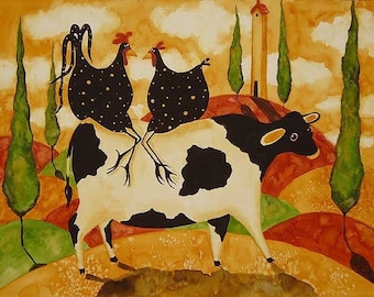 Farmhouse Italian Tuscan Farm Print Chickens Cows Debi Hubbs Art Print Country Animals