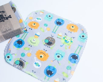 Unpaper Towels Cloth Napkins 12 Flannel Tissues  - Choose Your Size  - 1 PLY -  Monsters