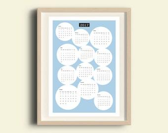 2017 Wall Calendar,  download calendar, modern art calendar, christmas gift for her, teacher gift, office wall decor, gift for him, A3