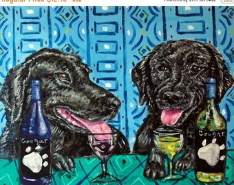25% off Black lab labrador retriever wine dog art PRINT  JSCHMETZ modern abstract folk pop art american ART gift