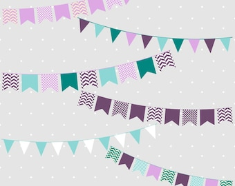 Bunting Clipart, Bunting Banner Clipart, Bunting Clip Art, Purple Bunting Clipart