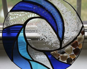 CLEARANCE SALE  Stained Glass, Beach, Ocean, Shoreline, Water, Beachcomber, Panel, Seashells, Wave, Water, Surf