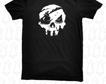Sea of Thieves Pirate Skull Gamer T Shirt Sea of Theives Gold, White, and many other colors!
