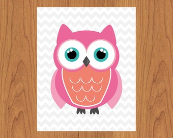 Coral Pink Teal Owl Nursery Print Girls Room Wall Art Decor Grey Chevron Print (41-3)