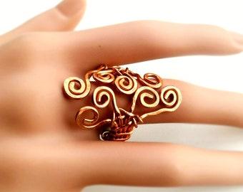 Hammered Copper Spirals Adjustable Ring