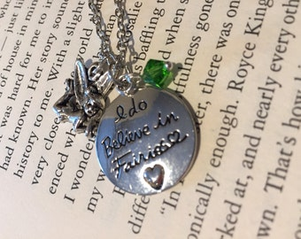 """Tinkerbell """"I do believe in fairies"""" necklace"""