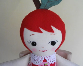 Handmade Ragdoll - Apple Girl cloth doll Rag Doll plush toy - Gift for girls