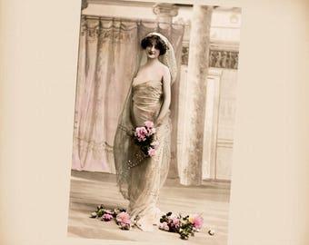 Art Nouveau Bride New 4x6 Vintage Postcard Image Photo Print LE247