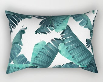 Teal Pillow, Tropical Resort Decor, Green Throw Pillow, Tropical Glam Accent Pillow, Banana Leaf Pillow, Leaf Print Lumbar, Coastal Decor